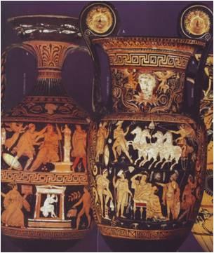 Ánfora procedente de Tarento donde se ha pintado una persona portando un cofre. Museo del Louvre